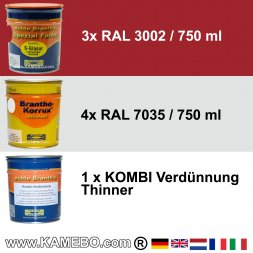 BRANTHO-KORRUX NITROFEST RAL 7035 S-GLASUR RAL 3002 Kit 1