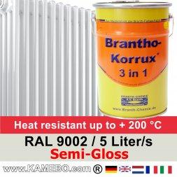 Heizkörperlack Seidenglänzend RAL 9002 Grauweiß 5 Liter
