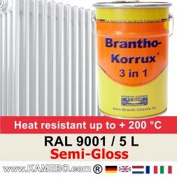 Heizkörperlack Seidenglänzend RAL 9001 Cremeweiß 5 Liter