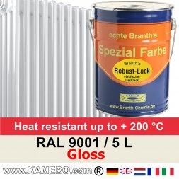Heizkörperlack Glänzend RAL 9001 Cremeweiß 5 Liter