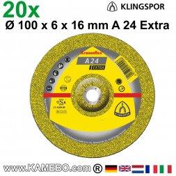 KLINGSPOR Schruppscheiben A 24 Extra Ø 100 x 6 x 16 mm 20 Stück