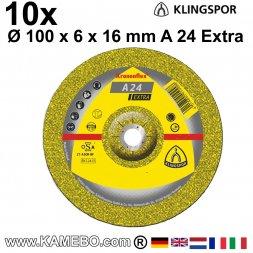 KLINGSPOR Schruppscheiben A 24 Extra Ø 100 x 6 x 16 mm 10 Stück