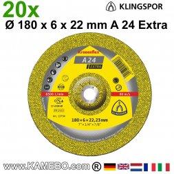 KLINGSPOR Schruppscheiben A 24 Extra Ø 180 x 6 x 22 mm 20 Stück