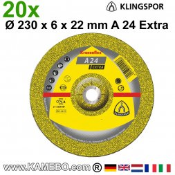 KLINGSPOR Schruppscheiben A 24 Extra Ø 230 x 6 x 22 mm 20 Stück