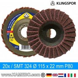 KLINGSPOR Schleifmopteller SMT 324 Ø 115 x 22 mm P80 20 Stück