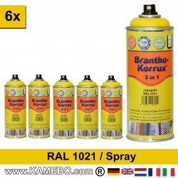 BRANTHO-KORRUX 3in1 Rostschutzlack RAL 1021 Spray Rapsgelb 400 ml 6 Stück