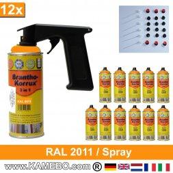 BRANTHO-KORRUX 3in1 Rostschutzlack RAL 2011 Spray Tieforange 400 ml 12 Stück