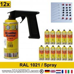 BRANTHO-KORRUX 3in1 Rostschutzlack RAL 1021 Spray Rapsgelb 400 ml 12 Stück