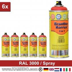 BRANTHO-KORRUX 3in1 Rostschutzlack RAL 3000 Spray Feuerrot / Siegelrot 400 ml 6 Stück