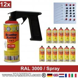 BRANTHO-KORRUX 3in1 Rostschutzlack RAL 3000 Spray Feuerrot / Siegelrot 400 ml 12 Stück