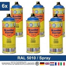 BRANTHO-KORRUX 3in1 Rostschutzlack RAL 5010 Spray Enzianblau 400 ml 6 Stück