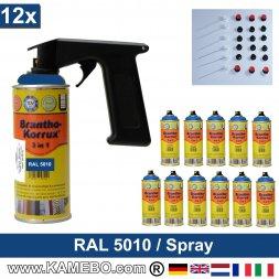 BRANTHO-KORRUX 3in1 Rostschutzlack RAL 5010 Spray Enzianblau 400 ml 12 Stück