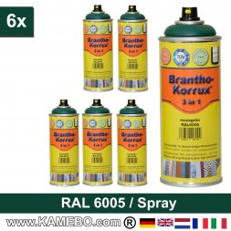 BRANTHO-KORRUX 3in1 Rostschutzlack RAL 6005 Spray Moosgrün 400 ml 6 Stück