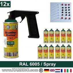 BRANTHO-KORRUX 3in1 Rostschutzlack RAL 6005 Spray Moosgrün 400 ml 12 Stück