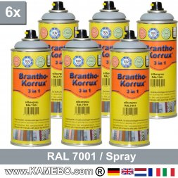 BRANTHO-KORRUX 3in1 Rostschutzlack RAL 7001 Spray Silbergrau 400 ml 6 Stück