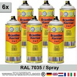 BRANTHO-KORRUX 3in1 Rostschutzlack RAL 7035 Spray Lichtgrau 400 ml 6 Stück