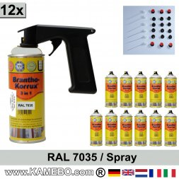 BRANTHO-KORRUX 3in1 Rostschutzlack RAL 7035 Spray Lichtgrau 400 ml 12 Stück