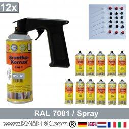BRANTHO-KORRUX 3in1 Rostschutzlack RAL 7001 Spray Silbergrau 400 ml 12 Stück