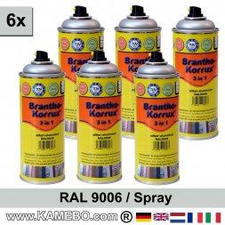 BRANTHO-KORRUX 3in1 Rostschutzlack RAL 9006 Spray Silberaluminium 400 ml 6 Stück