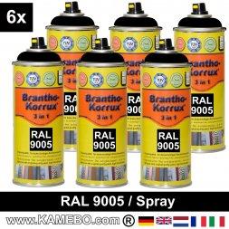 BRANTHO-KORRUX 3in1 Rostschutzlack RAL 9005 Spray Schwarz 400 ml 6 Stück