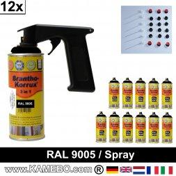 BRANTHO-KORRUX 3in1 Rostschutzlack RAL 9005 Spray Schwarz 400 ml 12 Stück