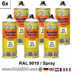 BRANTHO-KORRUX 3in1 Rostschutzlack RAL 9010 Spray Weiss 400 ml 6 Stück