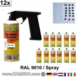 BRANTHO-KORRUX 3in1 Rostschutzlack RAL 9010 Spray Weiss 400 ml 12 Stück