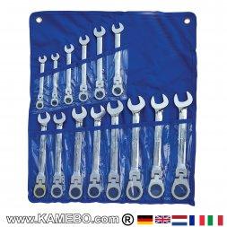 Ring-Maul-Ratschenschlüssel mit Gelenk 8 - 24 mm 14 Teile