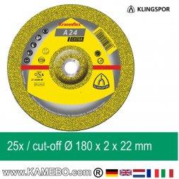 KLINGSPOR Trennscheibe A 24 Extra Ø 180 x 2 x 22 mm 25 Stück