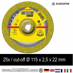 KLINGSPOR Trennscheibe A 24 Extra Ø 115 x 2,5 x 22 mm 25 Stück