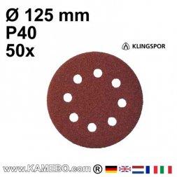 KLINGSPOR Schleifpapier PS 22 K Ø 125 mm 50 Stück P40