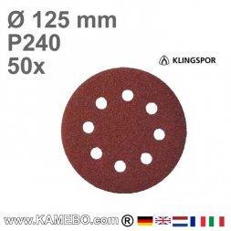 KLINGSPOR Schleifpapier PS 22 K Ø 125 mm 50 Stück P240