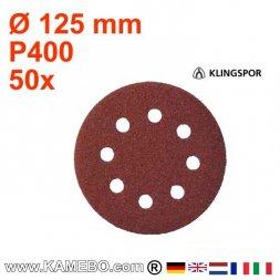 KLINGSPOR Schleifpapier PS 22 K Ø 125 mm 50 Stück P400