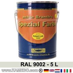BRANTH's ROBUST LACK Metallschutzlack RAL 9002 Grauweiß 5 Liter