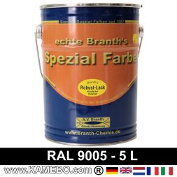 BRANTH's ROBUST LACK Metallschutzlack RAL 9005 Tiefschwarz / Schwarz 5 Liter