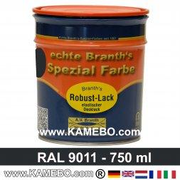 BRANTH's ROBUST LACK Metallschutzlack RAL 9011 Graphitschwarz / Schwarz 750 ml