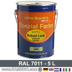 BRANTH's ROBUST LACK Metallschutzlack RAL 7011 Eisengrau / Dunkelgrau 5 Liter