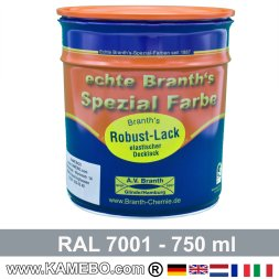 BRANTH's ROBUST LACK Metallschutzlack RAL 7001 Silbergrau 750 ml