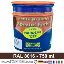 BRANTH's ROBUST LACK Metallschutzlack RAL 8016 Mahagonibraun 750 ml