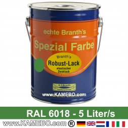 BRANTH's ROBUST LACK Metallschutzlack RAL 6018 Gelbgrün 5 Liter