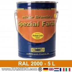 BRANTH's ROBUST LACK Metallschutzlack RAL 2000 Gelborange 5 Liter