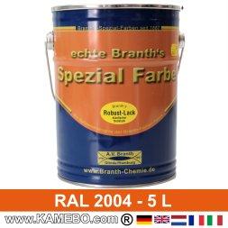 BRANTH's ROBUST LACK Metallschutzlack RAL 2004 Reinorange 5 Liter