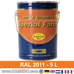 BRANTH's ROBUST LACK Metallschutzlack RAL 2011 Tieforange 5 Liter