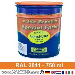 BRANTH's ROBUST LACK Metallschutzlack RAL 2011 Tieforange 750 ml