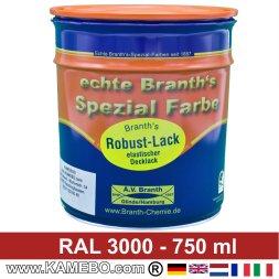 BRANTH's ROBUST LACK Metallschutzlack RAL 3000 Feuerrot / Siegelrot 750 ml
