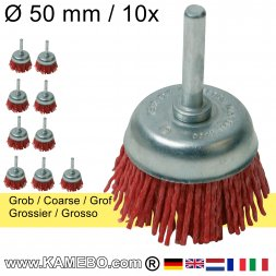 Nylon-Topfbürste mit Spannstift Ø 50 mm Grob 10 Stück