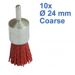 Nylon Pinselbürste mit Spannstift Ø 24 mm Grob 10 Stück