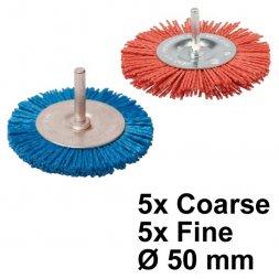 Nylon Rundbürste mit Spannstift Ø 50 mm Fein und Grob 10 Stück