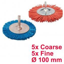 Nylon Rundbürste mit Spannstift Ø 100 mm Fein und Grob 10 Stück