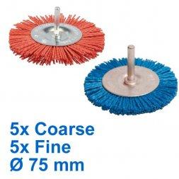 Nylon Rundbürste mit Spannstift Ø 75 mm Fein und Grob 10 Stück